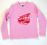 Racing Red Fire Truck On Pink Long-Sleeved Shirt*