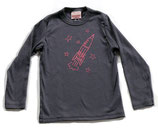 Rocket & Stars Long Sleeved Shirt — Pink On Gray*