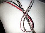 2 Lederriemchen Python natur / Glattleder rot
