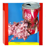 """"""" In Wirklichkeit:  Fleisch  zersetzt   Cola und Dose """""""