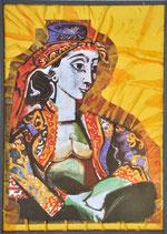 """"""" Dame in gelb (nach Picasso) """" D-032"""