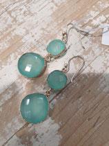 Boucles d'oreilles Pendantes Calcedoine bleu 2 pierres