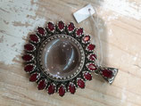 Pendentif soleil Cristal de roche Agate rouge