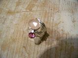 Bague quartz rose et tourmaline