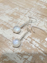 Boucles d'oreille cabochon pierre de lune argent 925