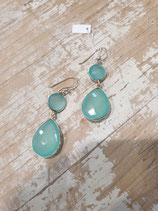 Boucles d'oreilles Calcedoine bleu 2 pierres dont 1 goutte