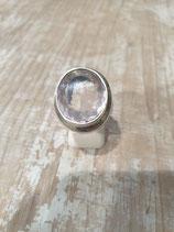 Bague quartz rose sertis clos double
