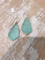 Boucles d'oreilles Pendantes Calcedoine bleu octogonale