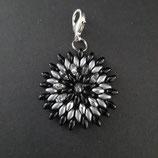Anhänger Blume schwarz/ grau/silber