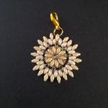 Anhänger Blume beige/gold