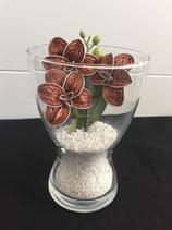 Vase mit Orchideen hellorange