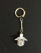 Schlüsselanhänger silber-apricot-grau