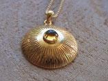 INNER SUN - Kette mit Sonnenamulett und Citrin, vergoldetes Sterling Silber
