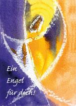 Engel-Postkarte, violett und orange