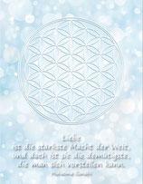 Postkarte Blume des Lebens Farbenergie Weiß