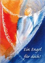 Engel-Postkarte, blau und rot