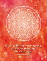 Postkarte Blume des Lebens Farbenergie Rot
