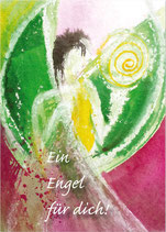 Engel-Postkarte, Grün und Magenta