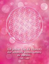 Postkarte Blume des Lebens Farbenergie Magenta