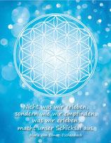 Postkarte Blume des Lebens Farbenergie Blau