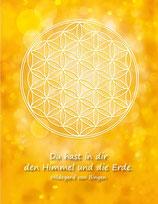 Postkarte Blume des Lebens Farbenergie Gold