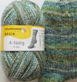 Regia Sockenwolle, 100g, 4-fach, grün-blau-braun gemustert