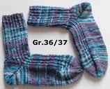 Socken, Gr.36/37, lila - blau gemustert, 4-fach
