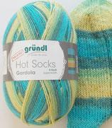 Gründl Sockenwolle, 100g, 4-fach, gelb-grün-türkis