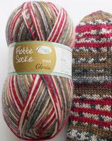 Rellana Sockenwolle, 150g, 6-fach, braun-rot-grau
