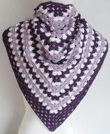 großes Dreieckstuch, reine Baumwolle, lila + flieder + weiß