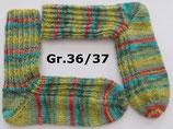 Socken, Gr.36/37, grün-türkis-koralle