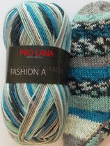 Pro Lana Sockenwolle, 100g, 4-fach,  mint-grau-blau gemustert
