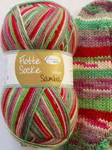 Rellana Sockenwolle, 100g, 4-fach, grün-rot-grau-pink