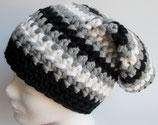 Longbeanie, grau-schwarz-weiß