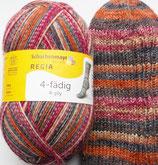 Regia Sockenwolle, 100g, 4-fach, rot-braun-orange