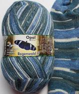 Opal Sockenwolle Regenwald, 100g, 4-fach, blau Töne