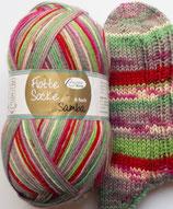 Rellana Sockenwolle, 150g, 6-fach, rot-grün-grau-pink
