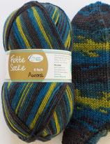 Rellana Sockenwolle, 150g, 6-fach, schwarz-blau-grün