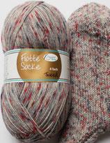 Rellana Sockenwolle, 100g, 4-fach, grau Tweed-Optik