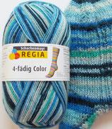 Regia Sockenwolle, 100g, 4-fach, blau gemustert mit etwas grün