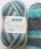 Gründl Sockenwolle, 100g, 4-fach, grau-türkis-blau