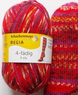 Regia Sockenwolle, 100g, 4-fach, rot-lila-orange
