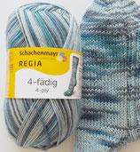 Regia Sockenwolle, 100g, 4-fach, blau-grau