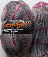 Comfort Sockenwolle, 150g, 6-fach, grau-beere