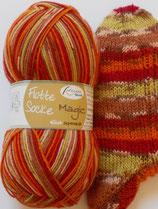 Rellana Sockenwolle, 100g, 4-fach, orange-rot-braun-gelb