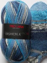 Pro Lana Sockenwolle, 100g, 4-fach,  blau Töne mit grau und weiß