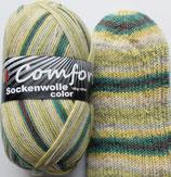 Comfort Sockenwolle, 100g, 4-fach,  grün mit gelb