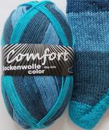 Comfort Sockenwolle, 100g, 4-fach, blau-türkis Blockstreifen