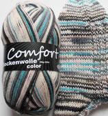Comfort Sockenwolle, 100g, 4-fach, weiß-grau mit türkis