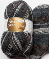 Rellana Sockenwolle, 100g, 4-fach, grau mit braun